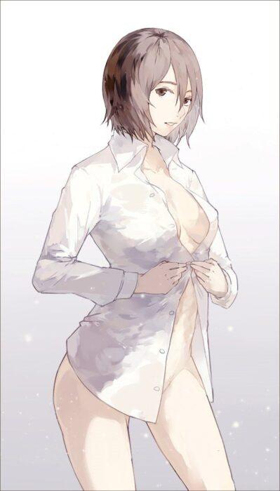 今日一緒にお泊りで寝間着にしたんだなって感じの裸ワイシャツ美少女の二次エロ画像