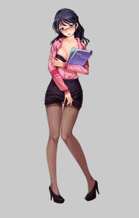 ぴっちりしすぎて性的に見ちゃう大人の魅力タイトスカートの二次エロ画像