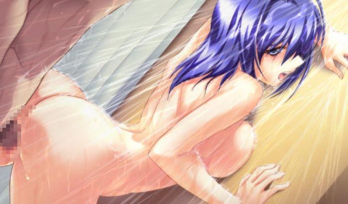 美少女を後ろからお尻側からパンパン突いてる後背位セックスの二次エロ画像