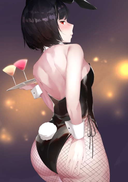 セクシーでたまらない伝統的なバニーガール衣装美少女の二次エロ画像