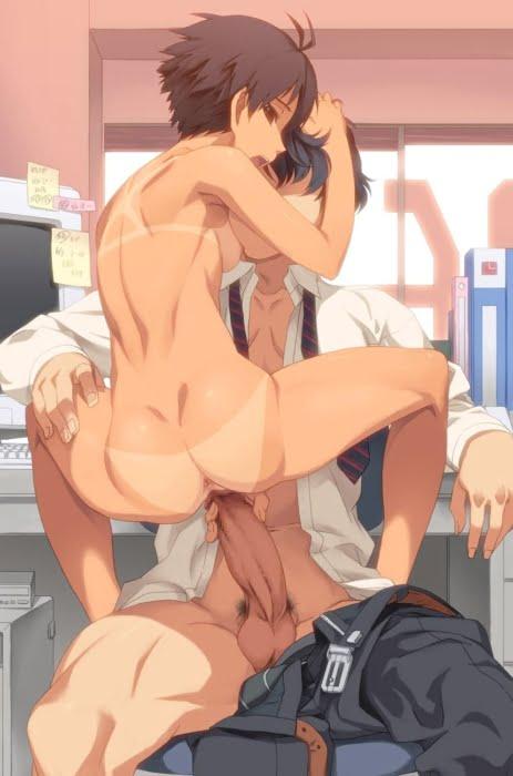 抱き合って繋がって中出し不可避な対面座位セックス中の二次エロ画像