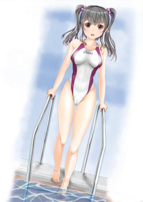 イメビでよくある水着でマンすじ食い込みくっきりしちゃってる美少女二次エロ画像