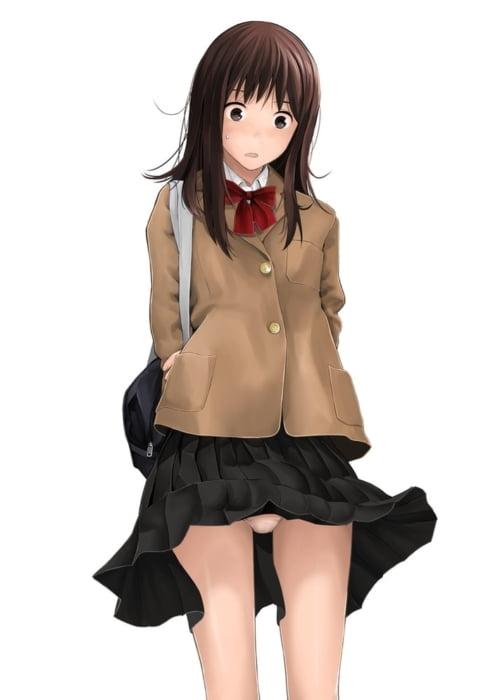 強風で煽られスカートがまくれちゃってモーレツにまいっちんぐなパンチラ美少女二次エロ画像