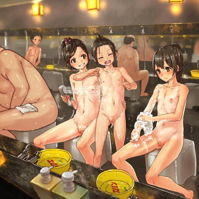 女の子同士がお風呂で洗いっこやイチャイチャするお風呂でソフトレズ二次エロ画像